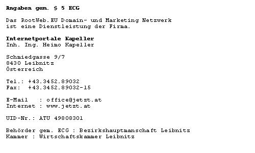 Impressum RootWeb.EU Domain Netzwerk